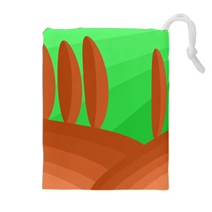 Green and orange landscape Drawstring Pouches (Extra Large)