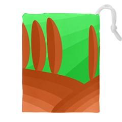 Green and orange landscape Drawstring Pouches (XXL)