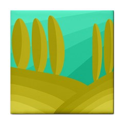 Green and yellow landscape Tile Coasters