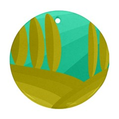 Green and yellow landscape Ornament (Round)