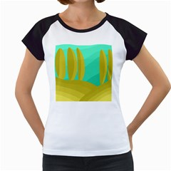 Green and yellow landscape Women s Cap Sleeve T