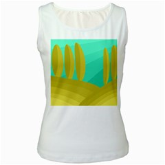 Green and yellow landscape Women s White Tank Top