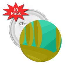 Green and yellow landscape 2.25  Buttons (10 pack)