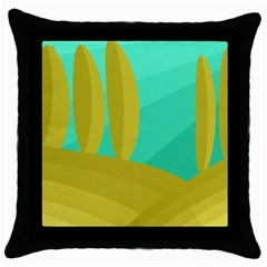 Green and yellow landscape Throw Pillow Case (Black)