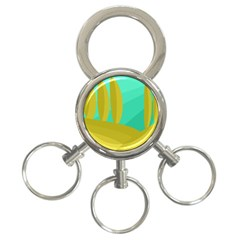 Green and yellow landscape 3-Ring Key Chains