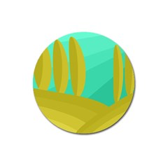 Green and yellow landscape Magnet 3  (Round)