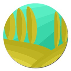 Green and yellow landscape Magnet 5  (Round)