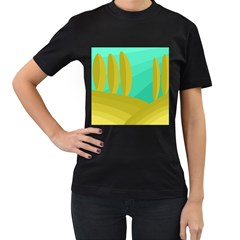 Green and yellow landscape Women s T-Shirt (Black) (Two Sided)