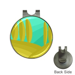 Green and yellow landscape Hat Clips with Golf Markers