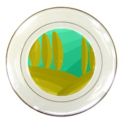 Green and yellow landscape Porcelain Plates