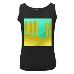 Green and yellow landscape Women s Black Tank Top
