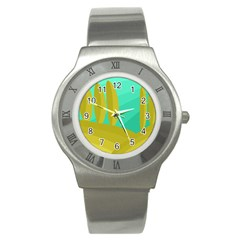 Green and yellow landscape Stainless Steel Watch
