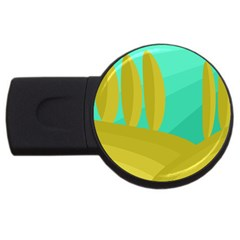 Green and yellow landscape USB Flash Drive Round (4 GB)