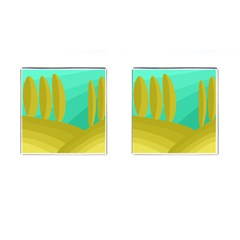 Green and yellow landscape Cufflinks (Square)