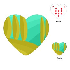 Green and yellow landscape Playing Cards (Heart)