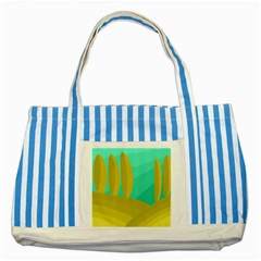 Green and yellow landscape Striped Blue Tote Bag