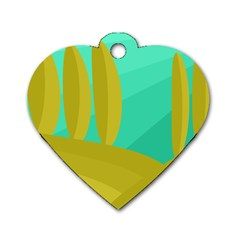Green and yellow landscape Dog Tag Heart (One Side)