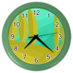 Green and yellow landscape Color Wall Clocks