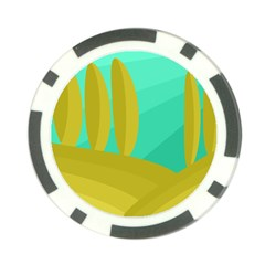 Green and yellow landscape Poker Chip Card Guards