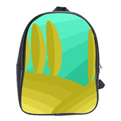 Green and yellow landscape School Bags(Large)
