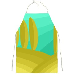 Green and yellow landscape Full Print Aprons