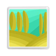 Green and yellow landscape Memory Card Reader (Square)