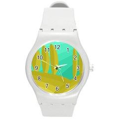 Green and yellow landscape Round Plastic Sport Watch (M)
