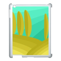 Green and yellow landscape Apple iPad 3/4 Case (White)