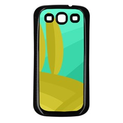 Green and yellow landscape Samsung Galaxy S3 Back Case (Black)