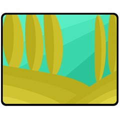Green and yellow landscape Double Sided Fleece Blanket (Medium)