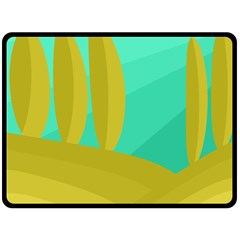 Green and yellow landscape Double Sided Fleece Blanket (Large)
