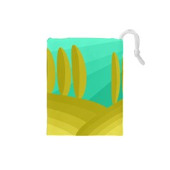 Green and yellow landscape Drawstring Pouches (Small)