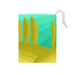 Green and yellow landscape Drawstring Pouches (Medium)