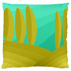 Green and yellow landscape Large Flano Cushion Case (Two Sides)