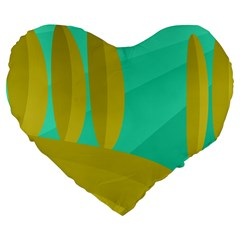 Green and yellow landscape Large 19  Premium Flano Heart Shape Cushions