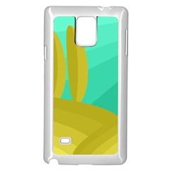 Green and yellow landscape Samsung Galaxy Note 4 Case (White)