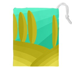 Green and yellow landscape Drawstring Pouches (XXL)