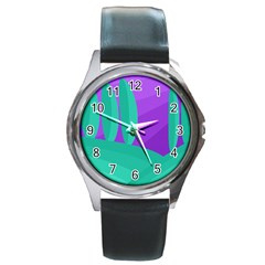 Purple and green landscape Round Metal Watch