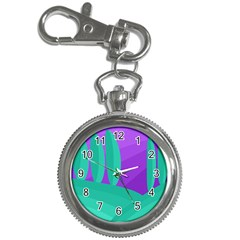 Purple and green landscape Key Chain Watches