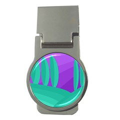 Purple and green landscape Money Clips (Round)