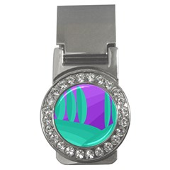 Purple and green landscape Money Clips (CZ)