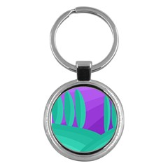 Purple and green landscape Key Chains (Round)