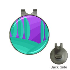 Purple and green landscape Hat Clips with Golf Markers