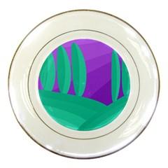 Purple and green landscape Porcelain Plates