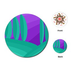 Purple and green landscape Playing Cards (Round)