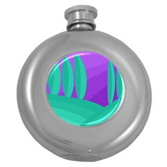 Purple and green landscape Round Hip Flask (5 oz)