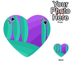 Purple and green landscape Playing Cards 54 (Heart)