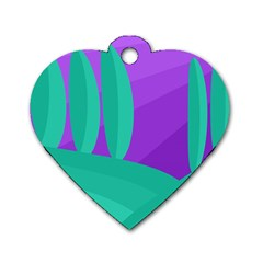 Purple and green landscape Dog Tag Heart (One Side)