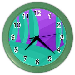 Purple and green landscape Color Wall Clocks