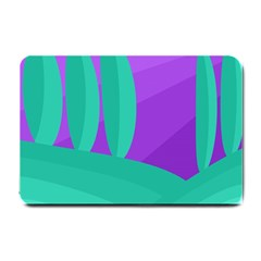 Purple and green landscape Small Doormat
